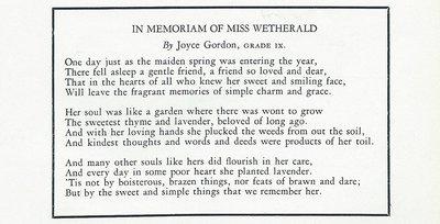 Pelham Pnyx 1940 - In Memoriam of Miss Wetherald