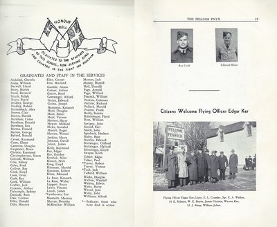Pelham Pnyx 1943-44 - Graduates and Staff in the Services and Welcoming for Flying Officer Edgar Ker