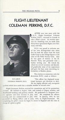 Pelham Pnyx 1943-44 - Flight Lieutenant Coleman Perkins, D.F.C.