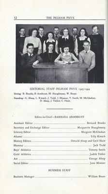 Pelham Pnyx 1943-44 - Editorial Staff Credits and Photograph