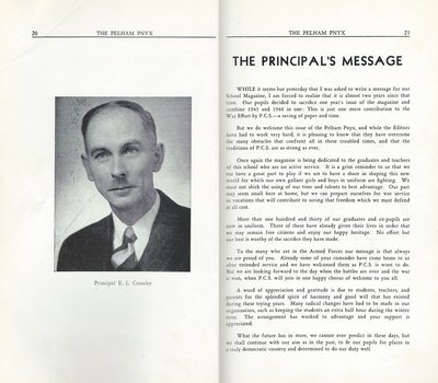 Pelham Pnyx 1943-44 - The Principal's Message