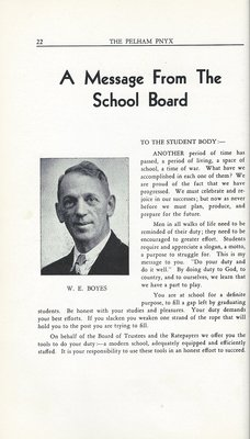 Pelham Pnyx 1943-44 - A Message from the School Board