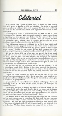 Pelham Pnyx 1943-44 - Editorial