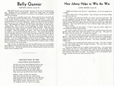 """Pelham Pnyx 1943-44 - Stories """"Belly Gunner"""" and """"How Johnny Helps to Win the War"""" and Poem """"England Shall Be Free"""""""