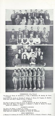 Pelham Pnyx 1943-44 - Photographs of Commercial Class, Upper School Class, Students' Council, and Girls' Basketball