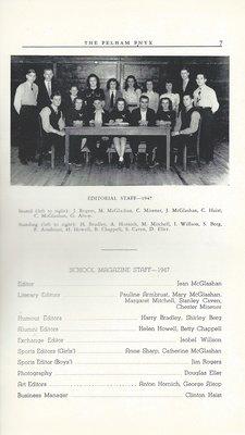 Pelham Pnyx 1947 - Editorial Staff Credits and Photograph