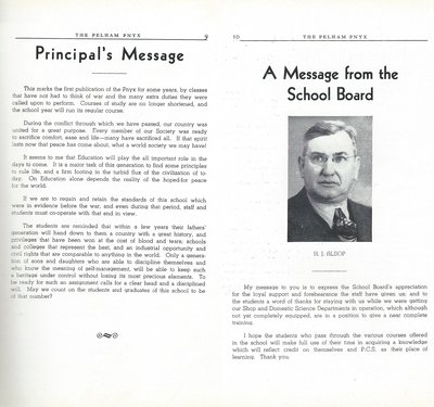 Pelham Pnyx 1947 - Principal's Message and A Message from the School Board