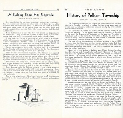 Pelham Pnyx 1947 - A Building Boom Hits Ridgeville and History of Pelham Township