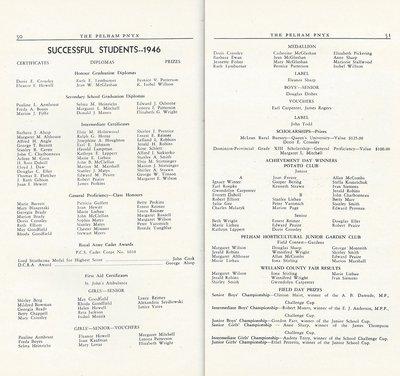 Pelham Pnyx 1947 - Successful Students