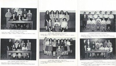 Pelham Pnyx 1947 - Photographs of Boys and Girls' Athletic Societies and Basketball Teams, as well as the Students' Council
