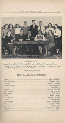Pelham Pnyx 1949 - Editorial Staff Credits and Photograph