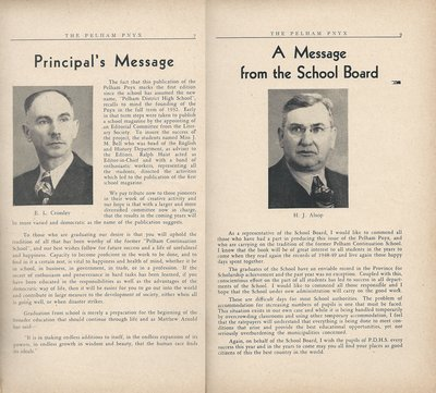 Pelham Pnyx 1949 - Principal's Message and A Message from the School Board