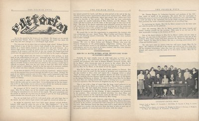 Pelham Pnyx 1949 - Editorial, The Retirement of Miss De La Mater and Photograph of Students' Council