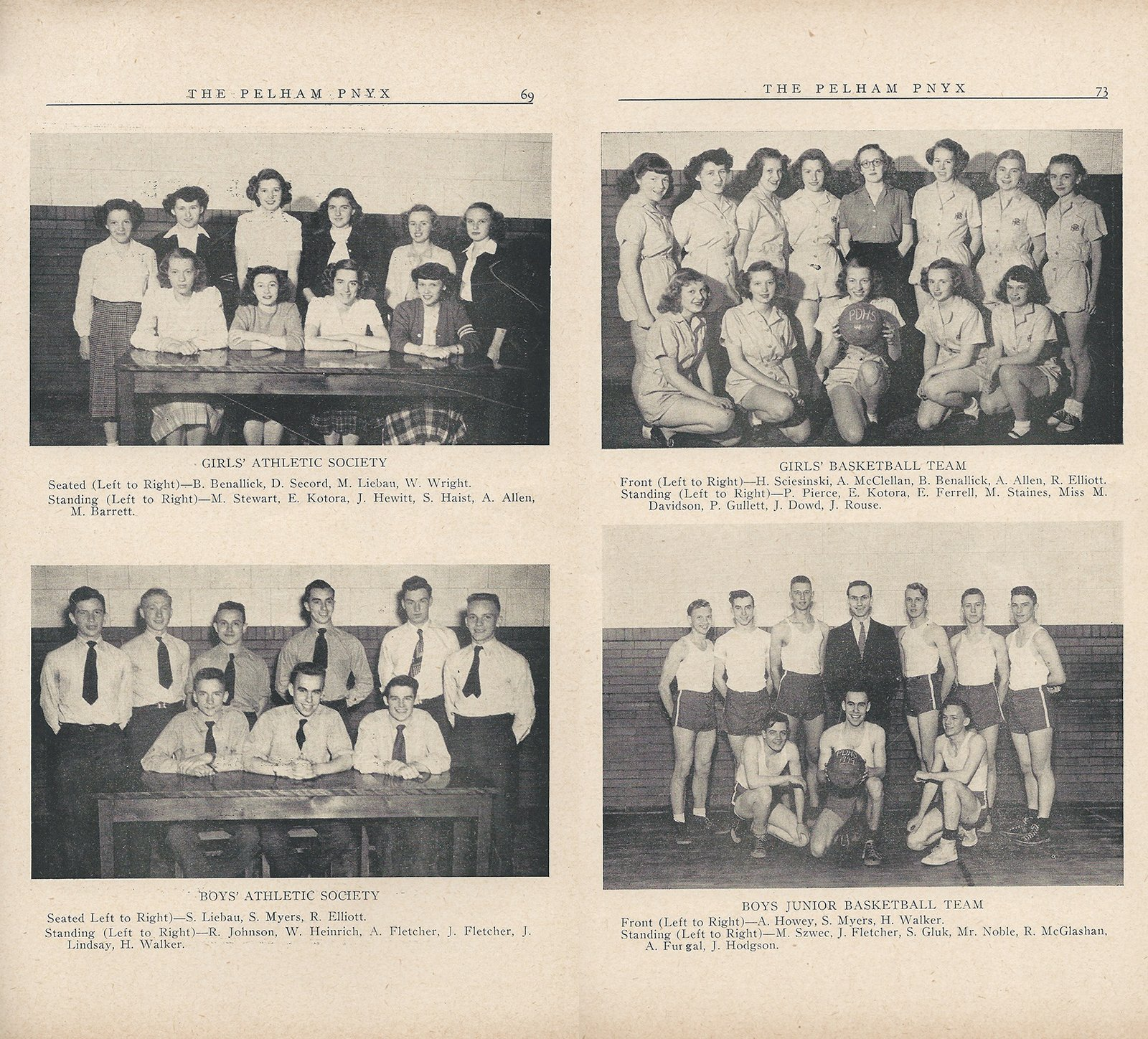 Pelham Pnyx 1949 - Photographs of the Boys and Girls' Athletic Societies and Basketball Teams