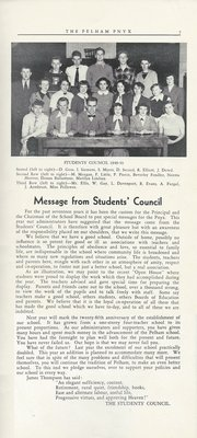 Pelham Pnyx 1950 - Students' Council Photograph and Message