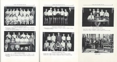 Pelham Pnyx 1950 - Photographs of Boys and Girls' Athletic Societies and Basketball Teams, and of Shop Class