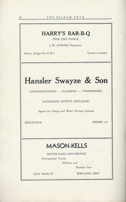 Pelham Pnyx Advertisements - Harry's Bar-B-Q, Hansler Swayze & Son, and Mason-Kells Motor Sales and Serivce