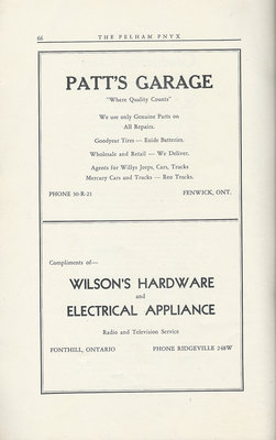 Pelham Pnyx Advertisements - Patt's Garage, and Wilson's Hardware and Electrical Appliance