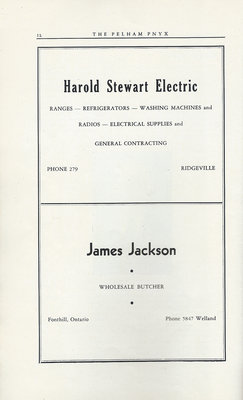 Pelham Pnyx Advertisements - Harold Stewart Electric, and James Jackson Wholesale Butcher