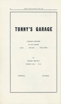 Pelham Pnyx Advertisements - Tunny's Garage