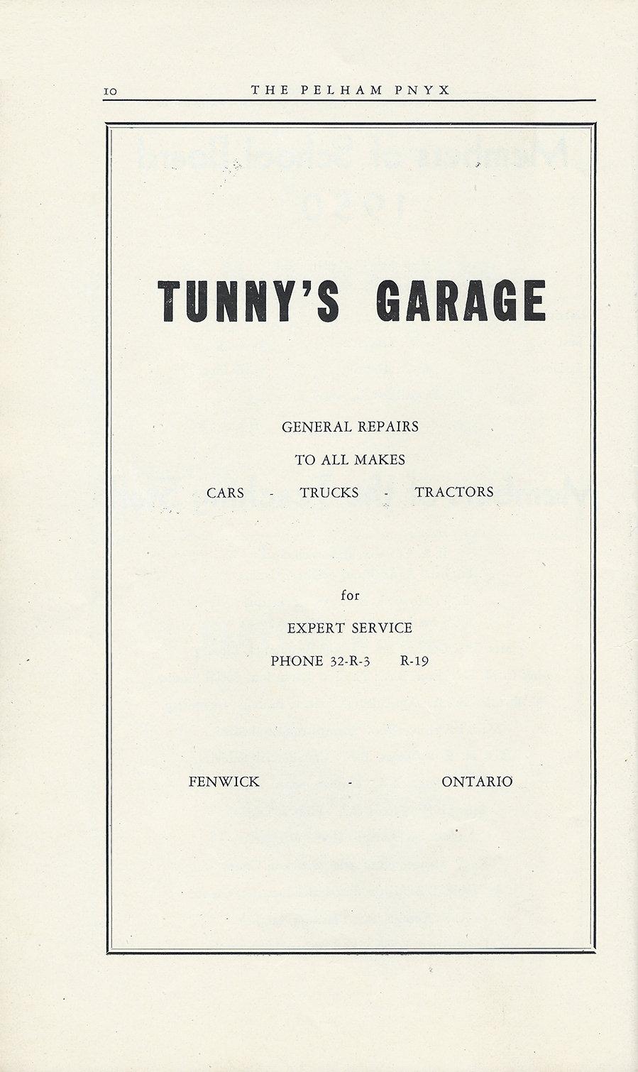 Pelham Pnyx Advertisements - Tunny's Garage
