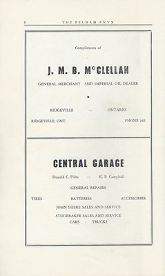 Pelham Pnyx Advertisements - J. M. B. McClellan General Merchant and Imperial Oil Dealer, and Central Garage
