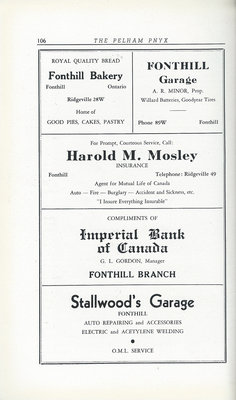 Pelham Pnyx Advertisements - Fonthill Bakery, Fonthill Garage, Harold M. Mosley Insurance, Imperial Bank of Canada, and Stallwood's Garage