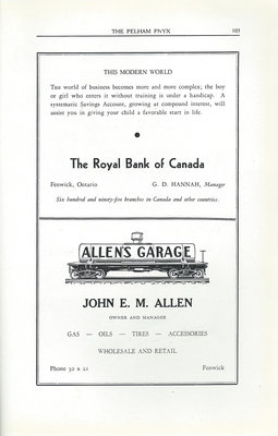 Pelham Pnyx Advertisements - The Royal Bank of Canada, and Allen's Garage