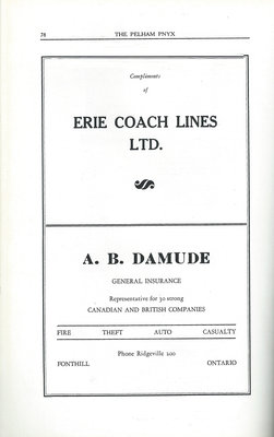 Pelham Pnyx Advertisements - Erin Coach Lines Ltd., and A. B. Damude General Insurance