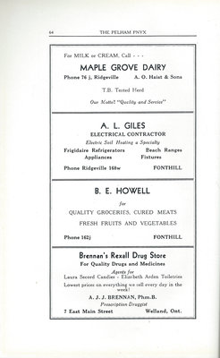 Pelham Pnyx Advertisements - Maple Grove Dairy, A. L. Giles Electrical Contractor, B.E Howell Quality Groceries, and Brennan's Rexall Drug Store