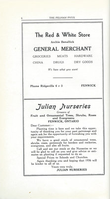 Pelham Pnyx Advertisements - The Red & White Store General Merchant, and Julian Nurseries