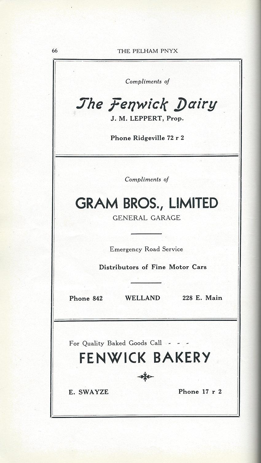 Pelham Pnyx Advertisements - The Fenwick Dairy, Gram Bros. Limited General Garage, and Fenwick Bakery