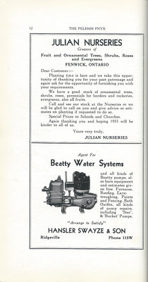 Pelham Pnyx Advertisements - Julian Nurseries, and Hansler Swayze & Son
