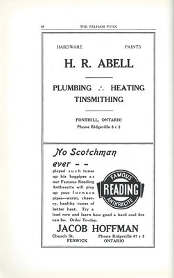 Pelham Pnyx Advertisements - H. R. Abell Hardware Store, and Jacob Hoffman Famous 'Reading' Anthracite Coal