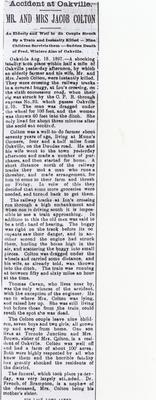 Newspaper Clipping of Accidental Deaths of Jacob and Mary Ann Colton, 1897