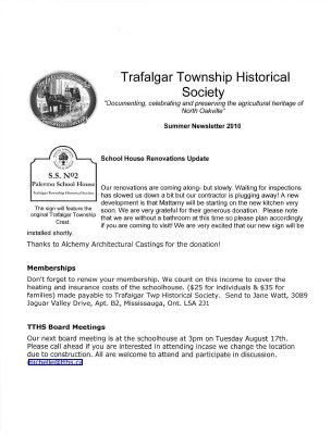 Trafalgar Township Historical Society Newsletter 2010 Summer