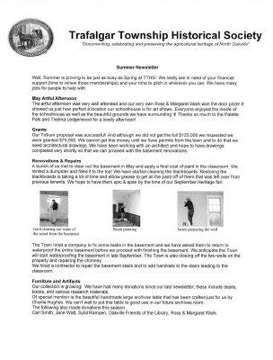 Trafalgar Township Historical Society Newsletter 2008 Summer