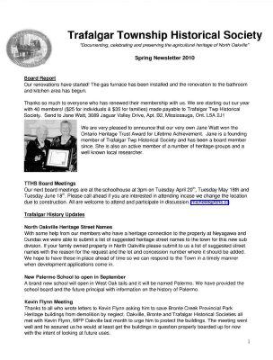 Trafalgar Township Historical Society Newsletter 2010 Spring