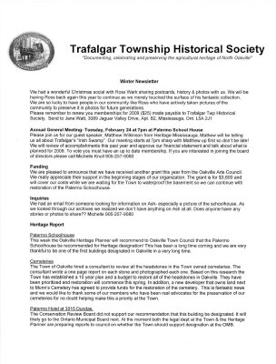 Trafalgar Township Historical Society Newsletter 2008 Winter