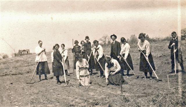 Students working in the school garden, circa 1917. <br>Courtesy the Trafalgar Township Historical Society.