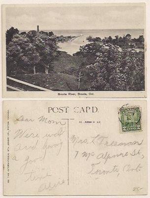 Postcard: Bronte River, Bronte, Ont.