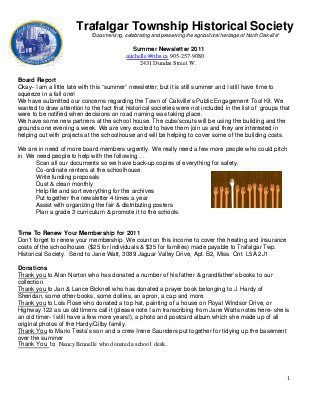 Trafalgar Township Historical Society Newsletter 2011 Summer
