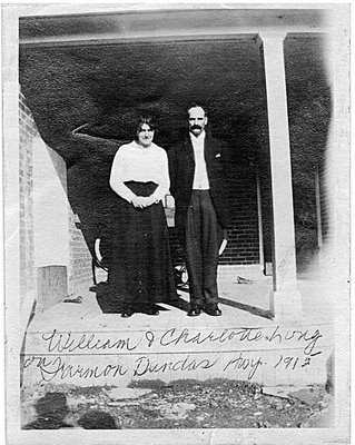 William Edward, called Billie, Long and Charlotte (Evans) Long, wedding photograph, 1915