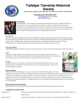 Trafalgar Township Historical Society Newsletter 2013 Spring/Summer