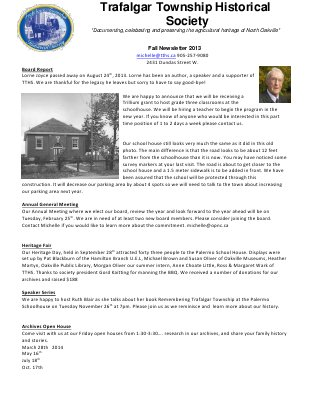 Trafalgar Township Historical Society Newsletter 2013 Fall