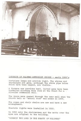 Interior of Palermo Methodist Church, Early 1900s