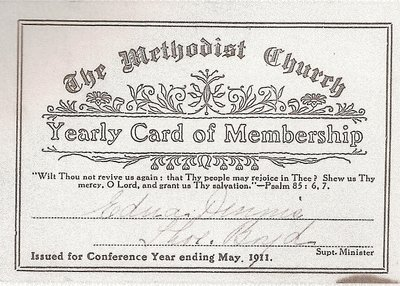 1911 Methodist Membership Card