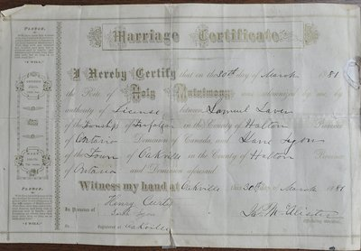 Marriage of Samuel Leaver and Jane Lyon, 1881