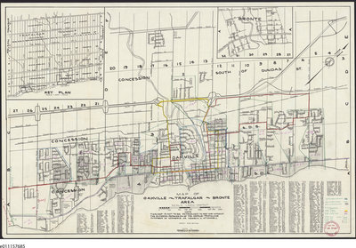 1958 Map Oakville Trafalgar Bronte Area