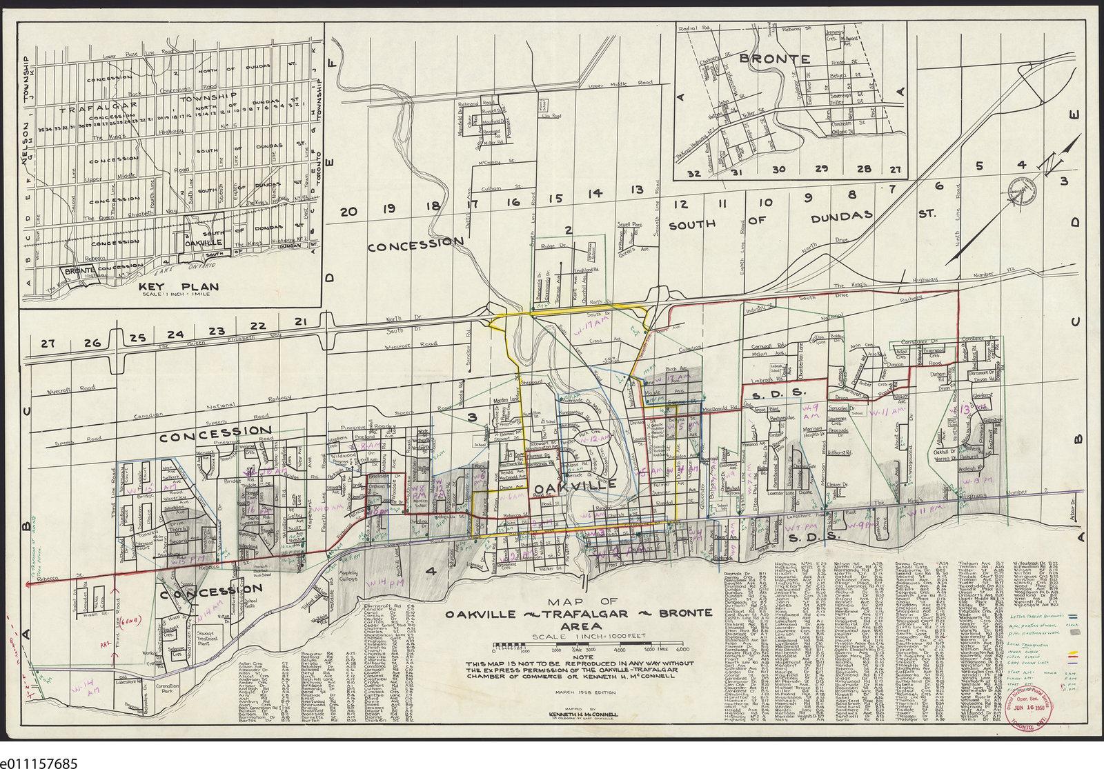 1958 Map Oakville Trafalgar Bronte Area